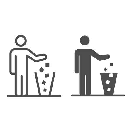 Man throws out drugs line and solid icon, life without addiction concept, anti drug sign on white background, freedom from narcotics icon in outline style for mobile concept. Vector graphics.