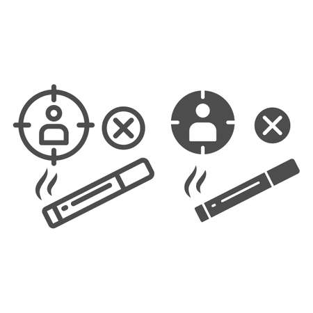 Smoker at gunpoint line and solid icon, life without addiction concept, smoking dangerous sign on white background, harm of cigarettes icon in outline style for mobile concept. Vector graphics.