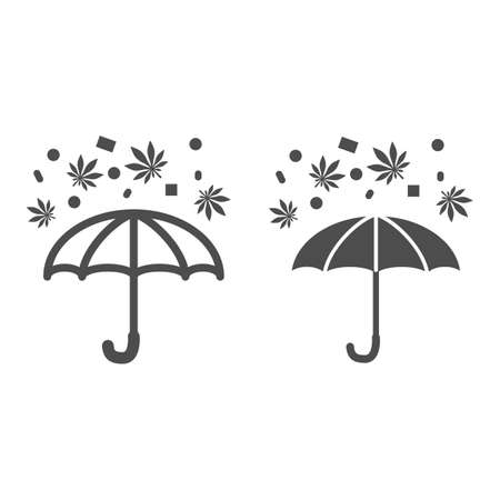 Drugs and umbrella line and solid icon, life without addiction concept, protection from drug rain sign on white background, anti narcotics icon in outline style for mobile concept. Vector graphics. Çizim