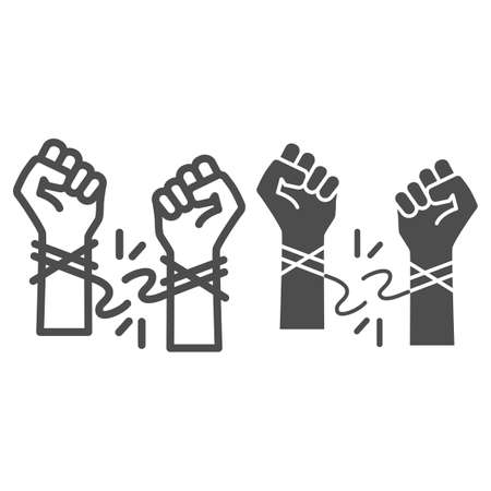 Hands tore the rope line and solid icon, life without addiction concept, anti drug, alcohol, smoking sign on white background, stop bad habits icon in outline style for web design. Vector graphics. Çizim