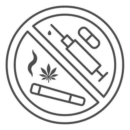 No any drugs thin line icon, life without addiction concept, anti narcotics sign on white background, stop syringes, tablets, cigarettes with drug icon in outline style. Vector graphics. Çizim