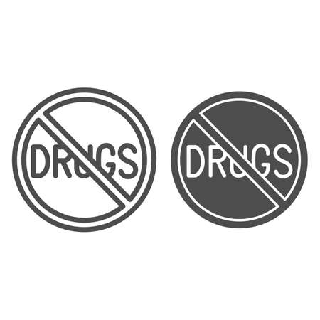 No drugs line and solid icon, life without addiction concept, anti drug sign on white background, Narcotics prohibition icon in outline style for mobile concept and web design. Vector graphics. Çizim