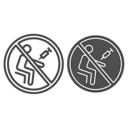 No drug injections line and solid icon, life without addiction concept, Narcotics prohibition sign on white background, person is injected drug icon in outline style for web design. Vector graphics.