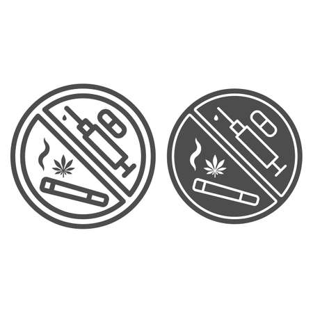 No any drugs line and solid icon, life without addiction concept, anti narcotics sign on white background, stop syringes, tablets, cigarettes with drug icon in outline style. Vector graphics. Çizim