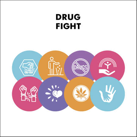 Modern stop drug infographic design template with icons. Life without addiction infographic visualization on white background. Drugs fight. Creative vector illustration for infographic.