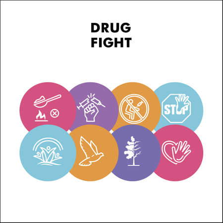Modern narcotic fight infographic design template with icons. No drug infographic visualization on white background. Freedom from drugs. Creative vector illustration for infographic. Çizim