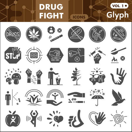 No drug solid icon set, Stop narcotic symbols collection or sketches. Drug fight glyph style signs for web and app. Vector graphics isolated on white background. Çizim