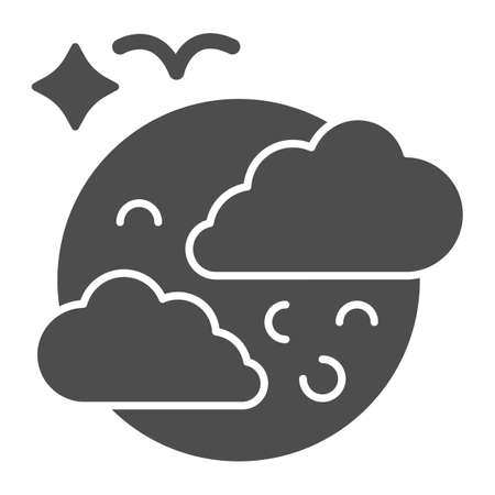 Moon in clouds and bird solid icon, halloween concept, full moon in sky sign on white background, halloween night icon in glyph style for mobile concept and web design. Vector graphics.