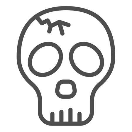 Skull with crack line icon, halloween concept, cracked skull without lower jaw sign on white background, dead head icon in outline style for mobile concept and web design. Vector graphics.