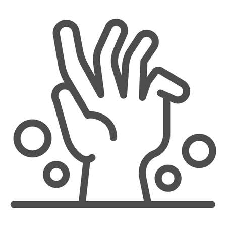 Dead man hand under ground line icon, halloween concept, zombie hand breaking out from under ground sign on white background, corpse hand icon in outline style. Vector graphics. Иллюстрация
