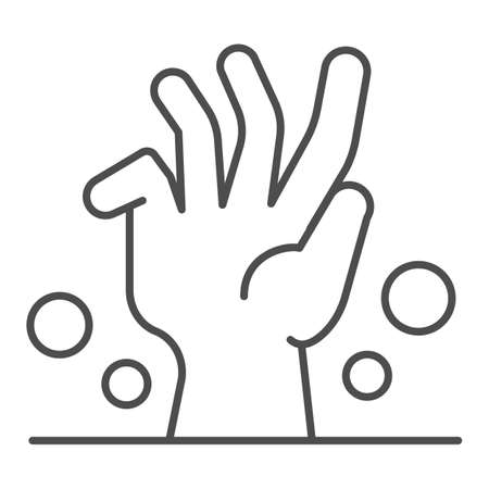 Dead man hand under ground thin line icon, halloween concept, zombie hand breaking out from under ground sign on white background, corpse hand icon in outline style. Vector graphics.