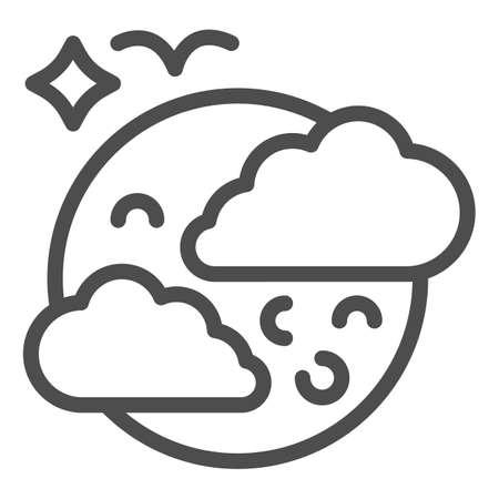 Moon in clouds and bird line icon, halloween concept, full moon in sky sign on white background, halloween night icon in outline style for mobile concept and web design. Vector graphics.