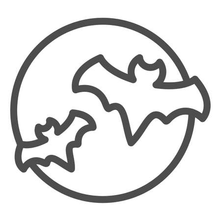 Bat with full moon clouds line icon, halloween concept, big moon and two bats sign on white background, flittermouse flies in sky at night icon in outline style. Vector graphics. Иллюстрация
