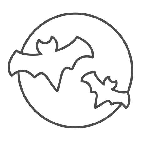 Bat with full moon clouds thin line icon, halloween concept, big moon and two bats sign on white background, flittermouse flies in sky at night icon in outline style. Vector graphics.