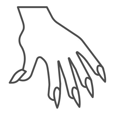 Hand with long nails thin line icon, halloween concept, witch fingers sign on white background, woman arm icon in outline style for mobile concept and web design. Vector graphics.