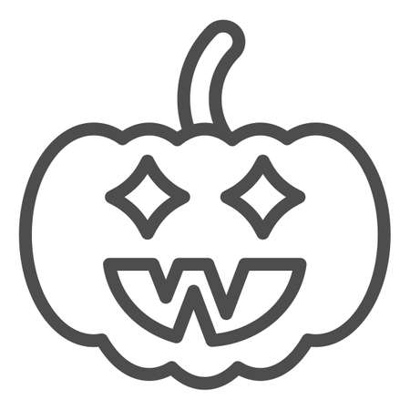 Halloween pumpkin line icon, halloween concept, jack lamp sign on white background, pumpkin with face icon in outline style for mobile concept and web design. Vector graphics.