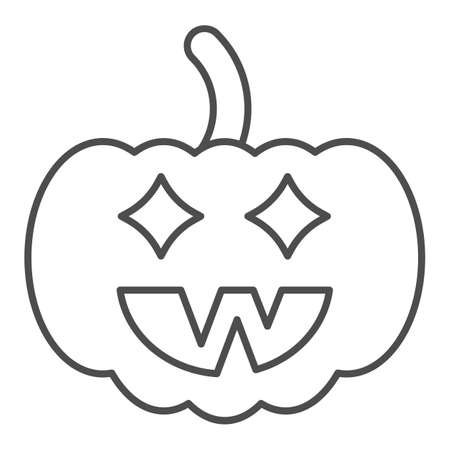 Halloween pumpkin thin line icon, halloween concept, jack lamp sign on white background, pumpkin with face icon in outline style for mobile concept and web design. Vector graphics. Иллюстрация