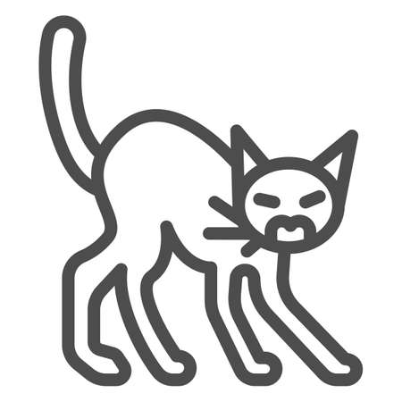 Angry black cat line icon, halloween concept, hissing cat sign on white background, scared cat with arched back icon in outline style for mobile concept and web design. Vector graphics.