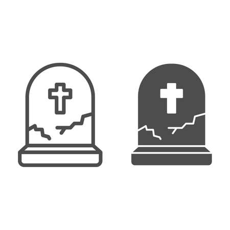 Grave with cross line and solid icon, halloween concept, grave with crack sign on white background, abandoned headstone icon in outline style for mobile concept and web design. Vector graphics.