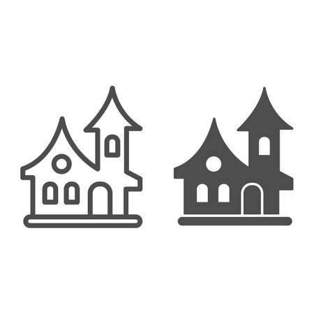 Old house line and solid icon, halloween concept, witch house sign on white background, scary halloween house icon in outline style for mobile concept and web design. Vector graphics. Иллюстрация
