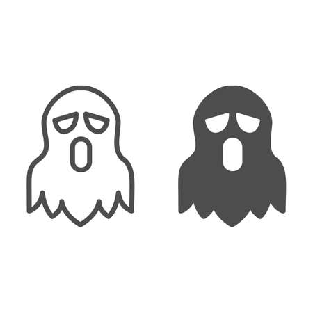 Ghost line and solid icon, halloween concept, spirit sign on white background, spooky costume for halloween icon in outline style for mobile concept and web design. Vector graphics.
