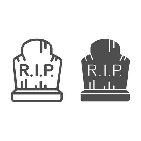 Grave with inscription rip line and solid icon, halloween concept, grave with scratches sign on white background, abandoned headstone icon in outline style for mobile concept. Vector graphics.