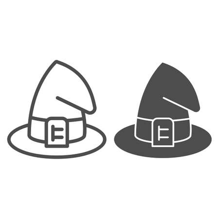 Wizard hat line and solid icon, halloween concept, witch hat sign on white background, magic cap for halloween costume icon in outline style for mobile concept and web design. Vector graphics.