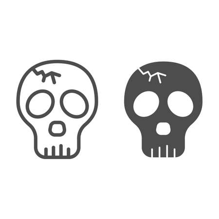 Skull with crack line and solid icon, halloween concept, cracked skull without lower jaw sign on white background, dead head icon in outline style for mobile concept and web design. Vector graphics.