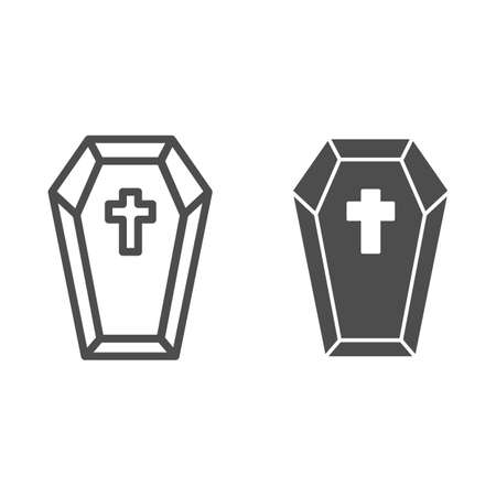 Coffin with cross line and solid icon, halloween concept, preparing dead for funeral sign on white background, dracula bed icon in outline style for mobile concept and web design. Vector graphics.