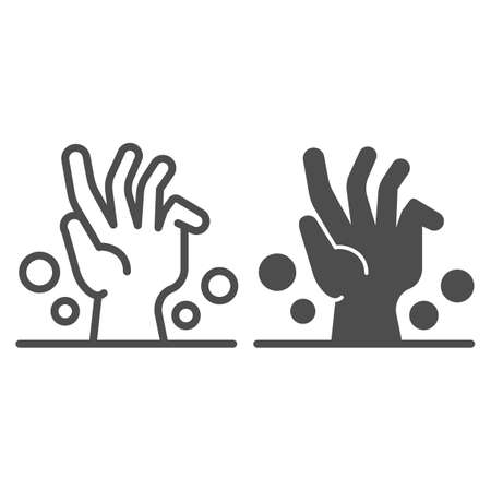 Dead man hand under ground line and solid icon, halloween concept, zombie hand breaking out from under ground sign on white background, corpse hand icon in outline style. Vector graphics. Иллюстрация