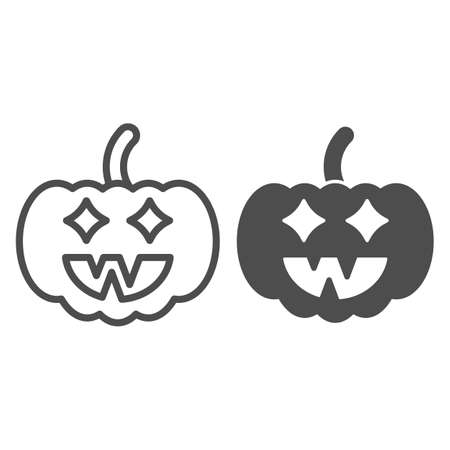 Halloween pumpkin line and solid icon, halloween concept, jack lamp sign on white background, pumpkin with face icon in outline style for mobile concept and web design. Vector graphics. Иллюстрация