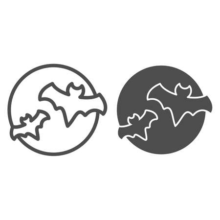 Bat with full moon clouds line and solid icon, halloween concept, big moon and two bats sign on white background, flittermouse flies in sky at night icon in outline style. Vector graphics.
