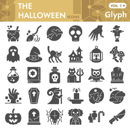Halloween solid icon set, thirty first october magic symbols collection or sketches. Halloween party decorations glyph style signs for web and app. Vector graphics isolated on white background. Иллюстрация