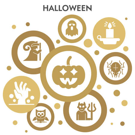 Halloween infographic design template with icons. paranormal activity infographic visualization design on white background. Night magic. Creative vector illustration for infographic.