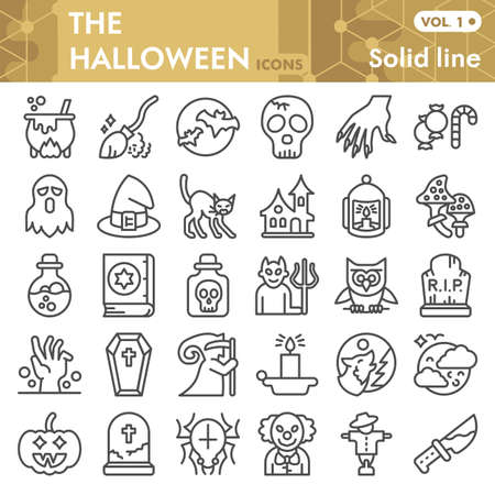 Halloween line icon set, thirty first october magic symbols collection or sketches. Halloween party decorations linear style signs for web and app. Vector graphics isolated on white background.