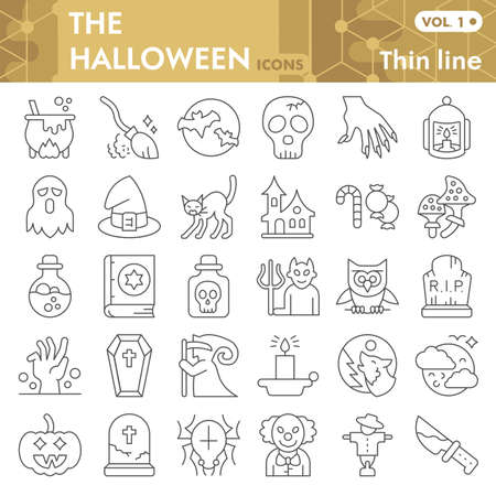 Halloween thin line icon set, thirty first october magic symbols collection or sketches. Halloween party decorations linear style signs for web and app. Vector graphics isolated on white background. Иллюстрация