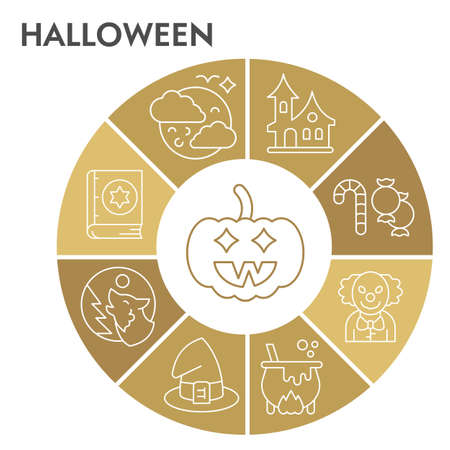 Halloween infographic design template with icons. Horror infographic visualization design on white background. Attribute for halloween. Creative vector illustration for infographic. Иллюстрация