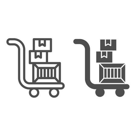 Trolley with boxes line and solid icon, Black Friday concept, hand truck with three cardboard boxes sign on white background, warehouse trolley icon in outline style for mobile, web. Vector graphics.