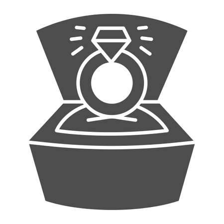 Ring with diamond in open box solid icon, valentine day concept, wedding ring with brilliant sign on white background, proposal ring icon in glyph style for mobile concept. Vector graphics.