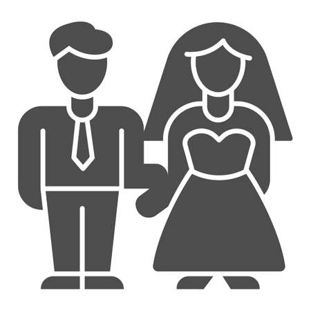 Bride and groom solid icon, valentine day concept, wedding couple sign on white background, lovers get married icon in glyph style for mobile concept and web design. Vector graphics. Ilustración de vector