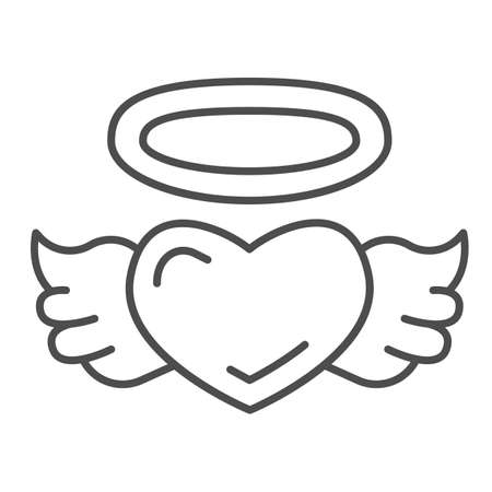 Angel heart thin line icon, valentine day concept, Heart with wings and nimbus sign on white background, halo and wing on heart icon in outline style for mobile concept. Vector graphics.