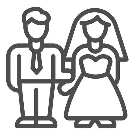 Bride and groom line icon, valentine day concept, wedding couple sign on white background, lovers get married icon in outline style for mobile concept and web design. Vector graphics. Ilustração