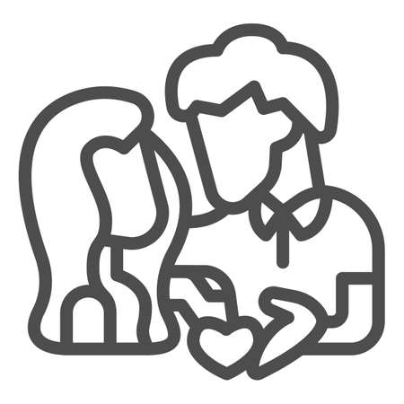 Couple and heart line icon, valentine day concept, lovers sign on white background, man and woman in love on date icon in outline style for mobile concept and web design. Vector graphics. Illusztráció