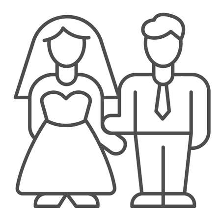 Bride and groom thin line icon, valentine day concept, wedding couple sign on white background, lovers get married icon in outline style for mobile concept and web design. Vector graphics. Ilustración de vector