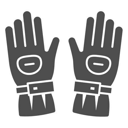 Snowboard sport glove solid icon, World snowboard day concept, snowboarding gloves sign on white background, Ski gloves icon in glyph style for mobile and web design. Vector graphics.