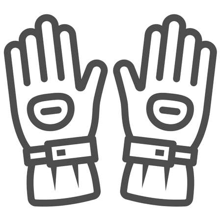 Snowboard sport glove line icon, World snowboard day concept, snowboarding gloves sign on white background, Ski gloves icon in outline style for mobile and web design. Vector graphics.