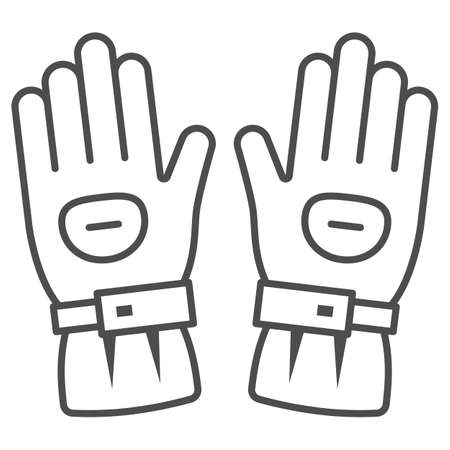 Snowboard sport glove thin line icon, World snowboard day concept, snowboarding gloves sign on white background, Ski gloves icon in outline style for mobile and web design. Vector graphics.