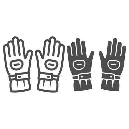 Snowboard sport glove line and solid icon, World snowboard day concept, snowboarding gloves sign on white background, Ski gloves icon in outline style for mobile and web design. Vector graphics.