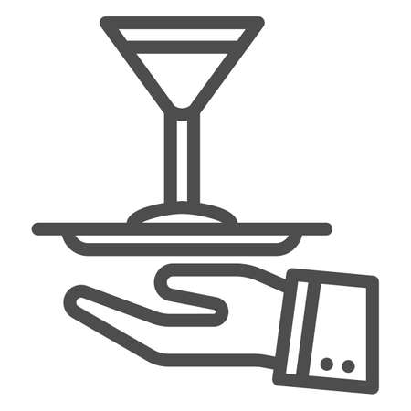 Waiter hand holding tray with martini glass icon in outline style for mobile. Vector graphics.