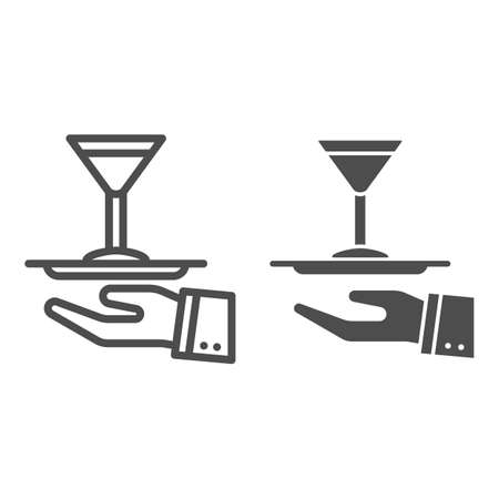 Cocktail on a tray line and solid icon, Bartenders Day concept, Serving drink sign on white background, Waiter hand holding tray with martini glass icon in outline style for mobile. Vector graphics.